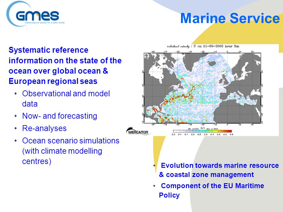 Marine Service Systematic reference information on the state of the ocean over global ocean & European regional seas.