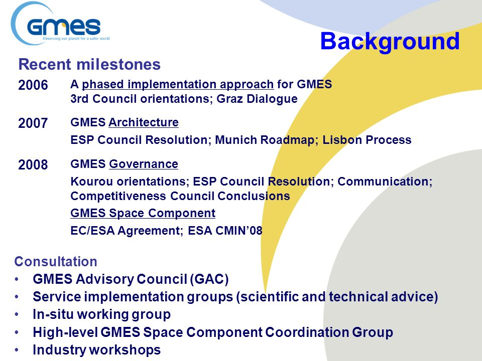 Background Recent milestones 2006 2007 2008 Consultation
