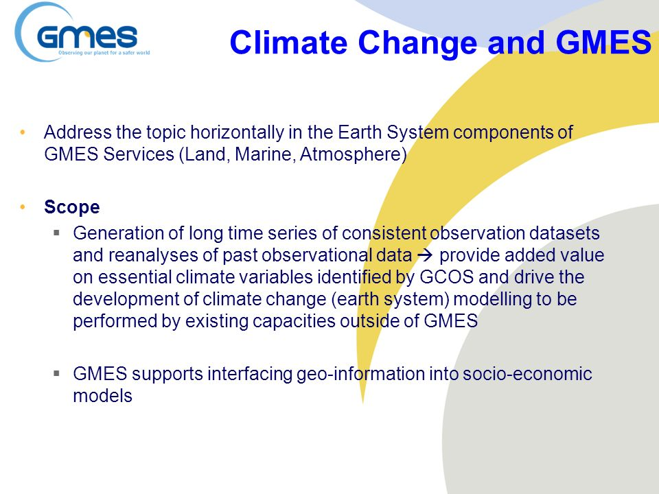 Climate Change and GMES