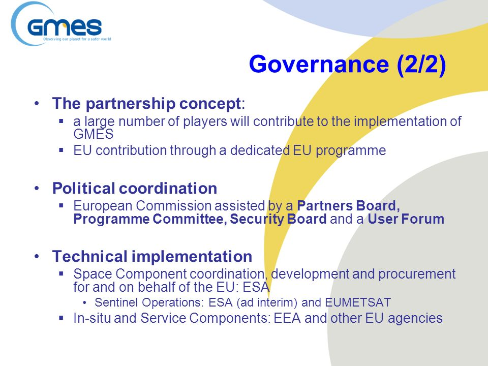 Governance (2/2) The partnership concept: Political coordination