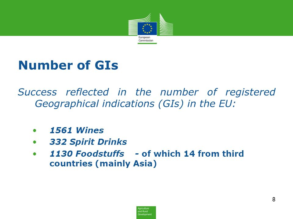 Number of GIs Success reflected in the number of registered Geographical indications (GIs) in the EU: