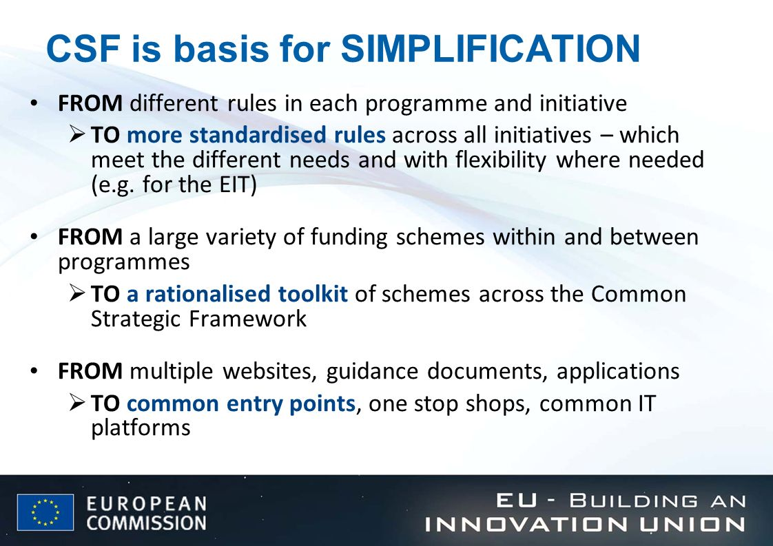 CSF is basis for SIMPLIFICATION
