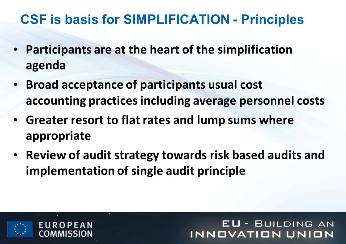 CSF is basis for SIMPLIFICATION - Principles