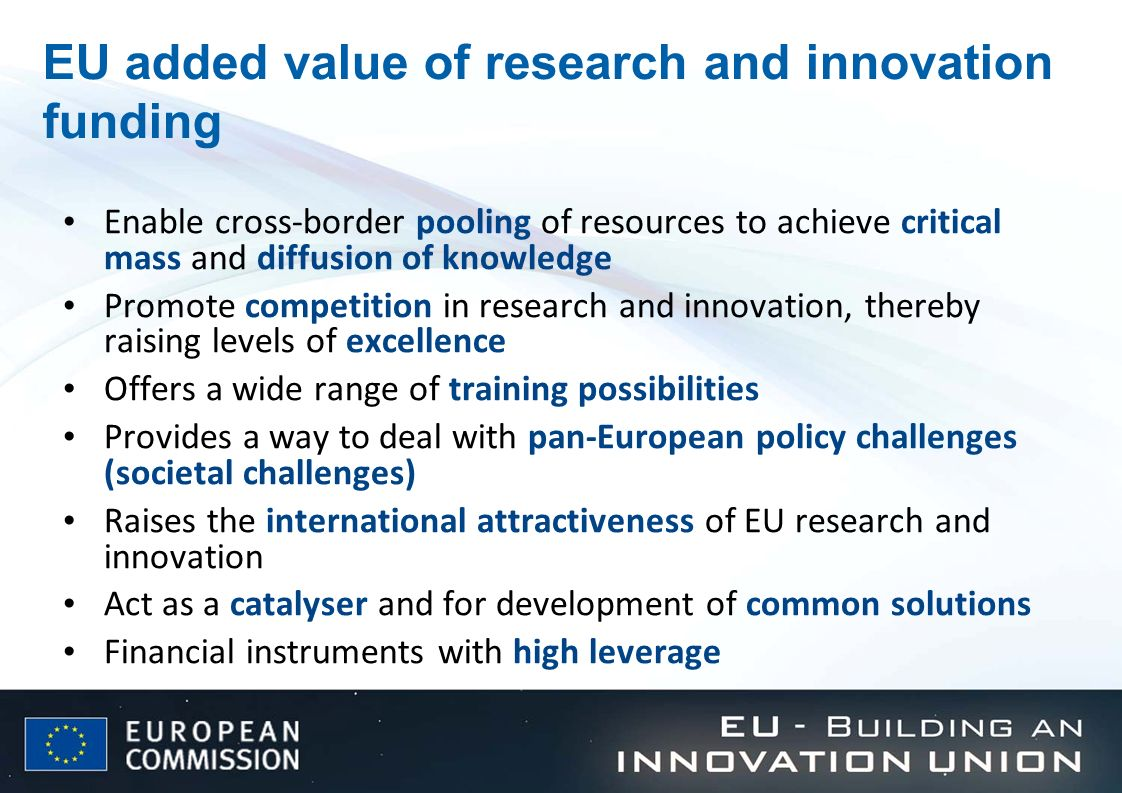 EU added value of research and innovation funding