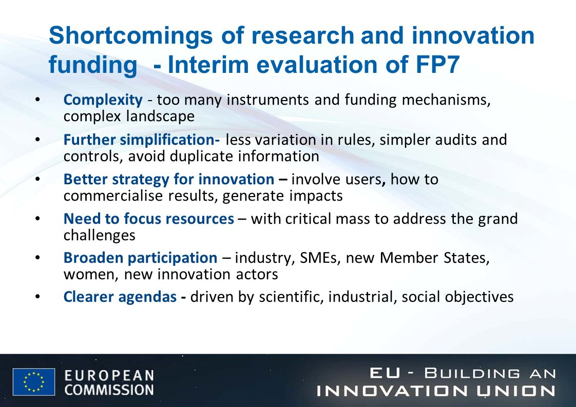 Shortcomings of research and innovation funding - Interim evaluation of FP7