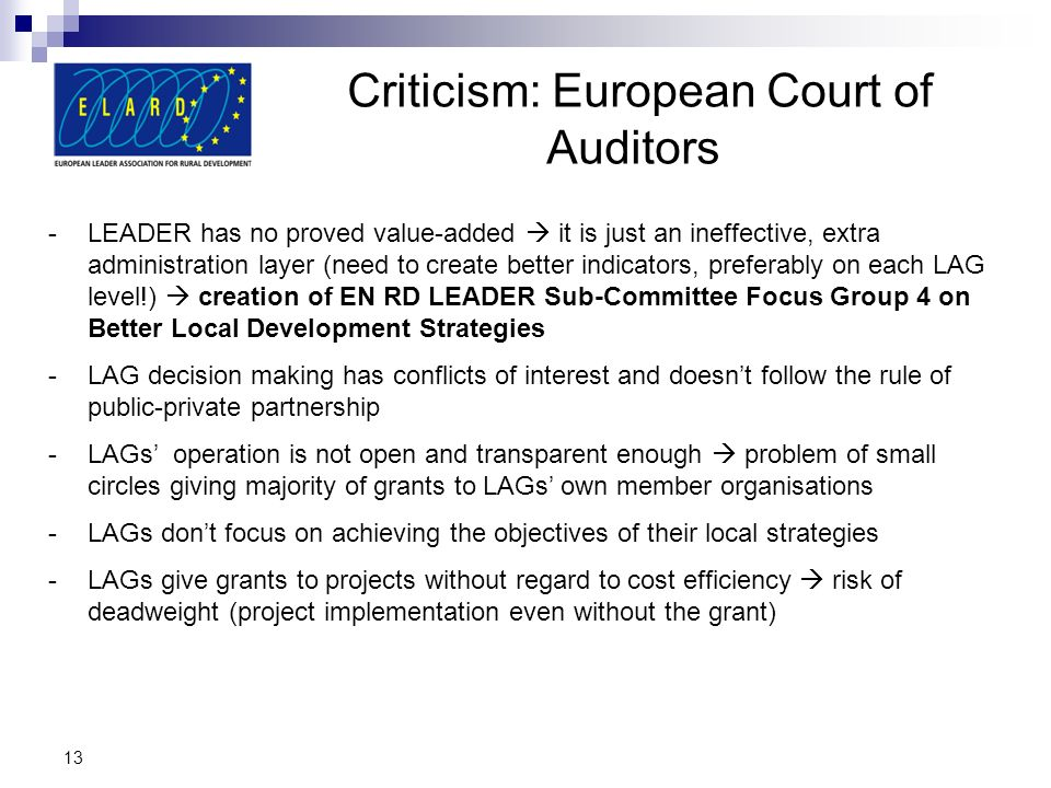 Criticism: European Court of Auditors
