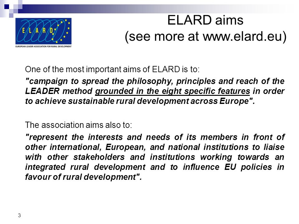 ELARD aims (see more at