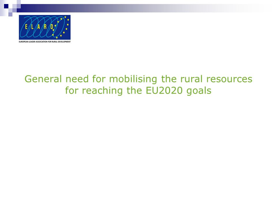 General need for mobilising the rural resources for reaching the EU2020 goals
