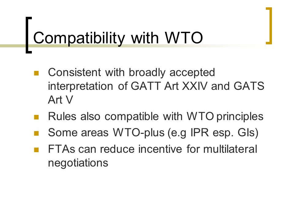 Compatibility with WTO