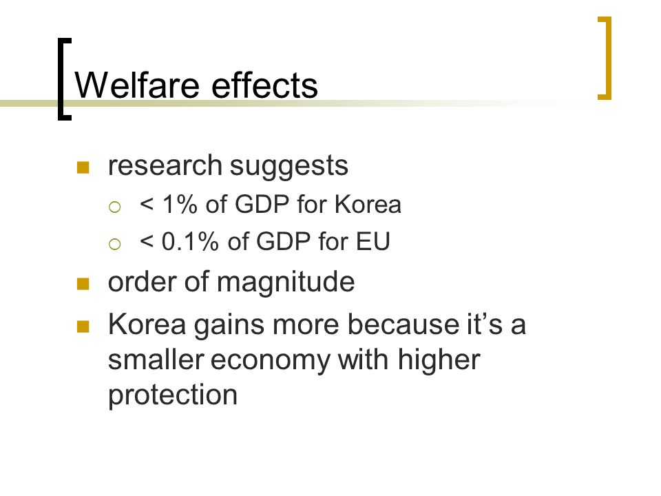 Welfare effects research suggests order of magnitude