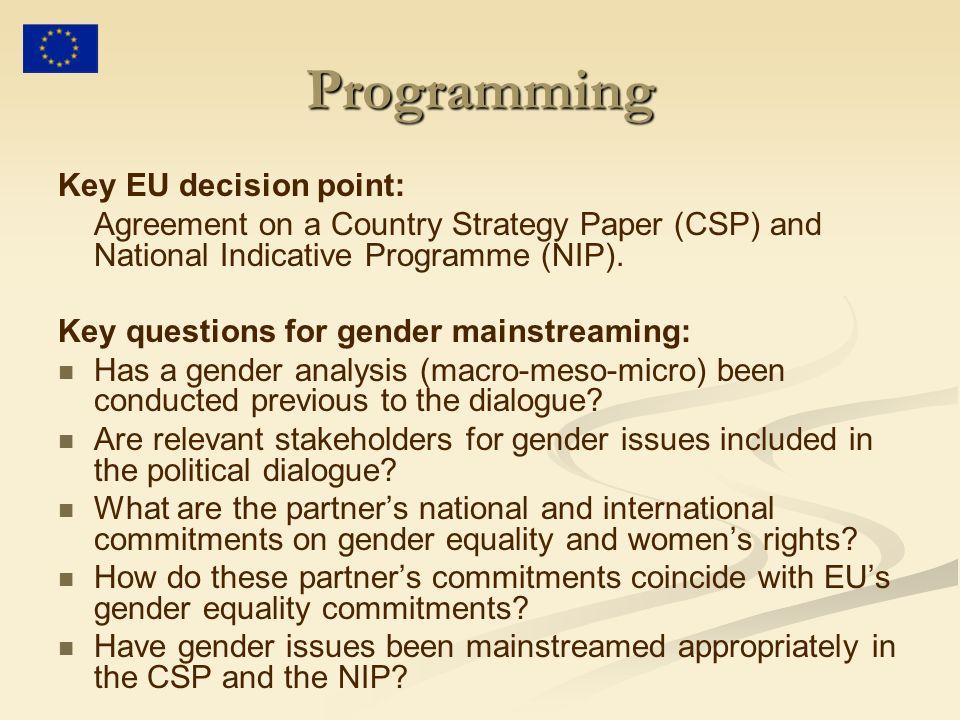Programming Key EU decision point: