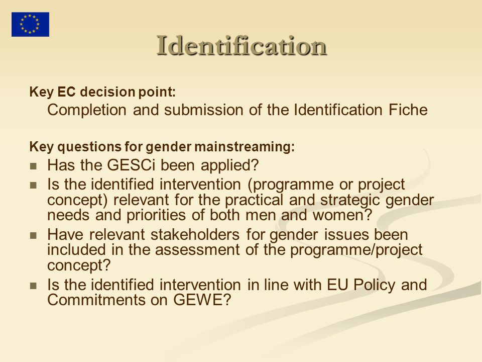 Identification Completion and submission of the Identification Fiche