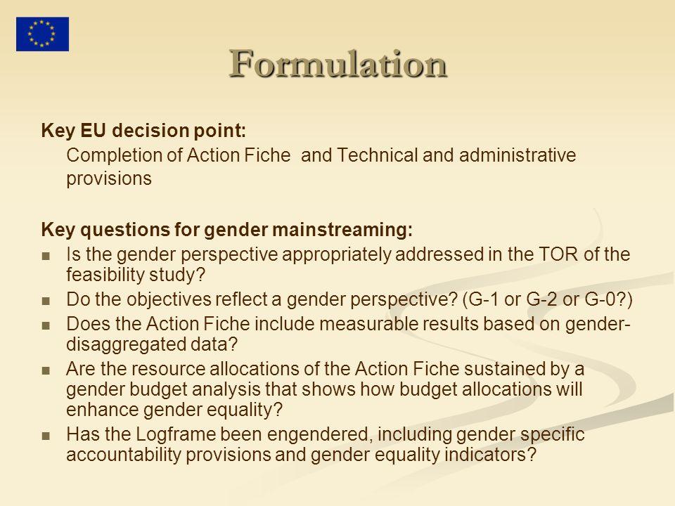 Formulation Key EU decision point: