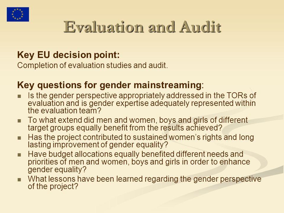 Evaluation and Audit Key EU decision point: