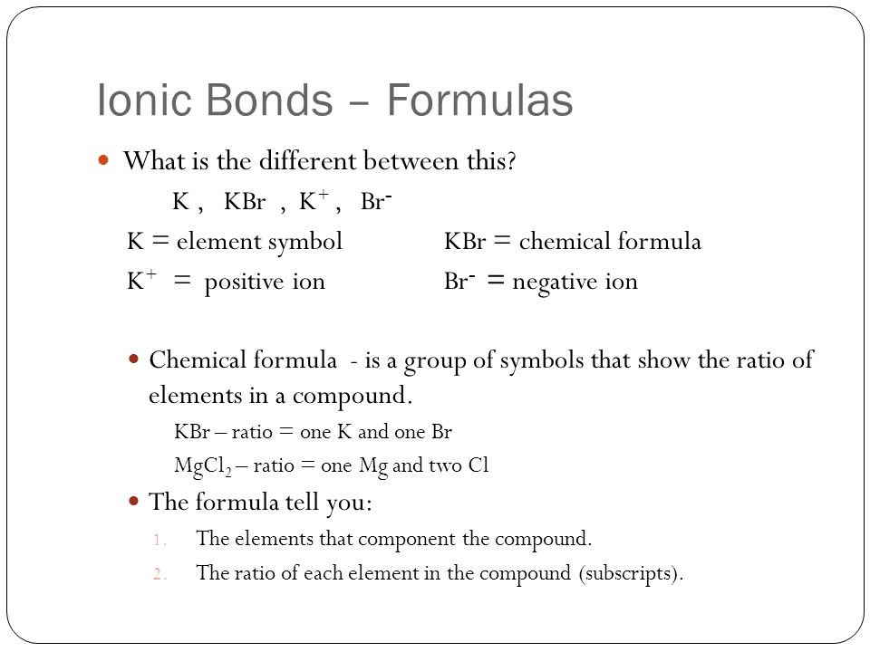 the formula unit of an ionic compound shows relationship