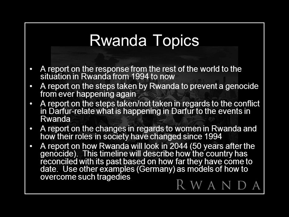 a report on the genocide in rwanda Created date: 20010123204033.