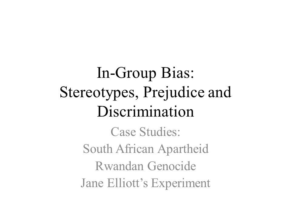 thesis on discrimination and prejudice