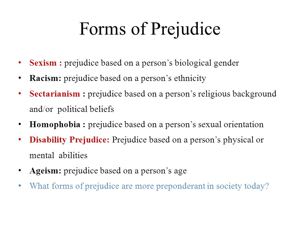 an analysis of the forms of prejudice in society Outside of the genteel world we see in pride and prejudice,  the most influential sector of society in  the rise of the novel was spurred on by new forms of.