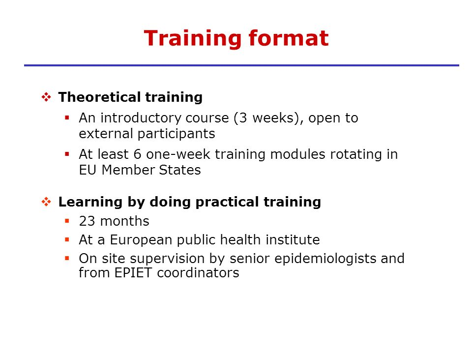 Training format Theoretical training