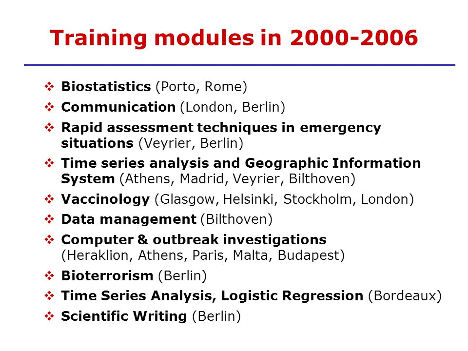 Training modules in 2000-2006 Biostatistics (Porto, Rome)