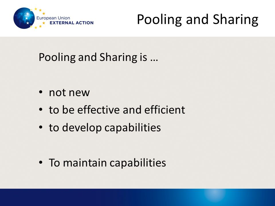 Pooling and Sharing Pooling and Sharing is … not new