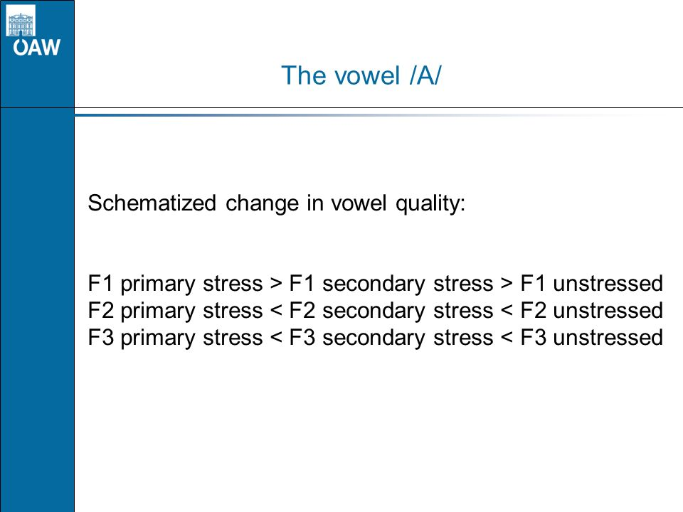 The vowel /A/ Schematized change in vowel quality: