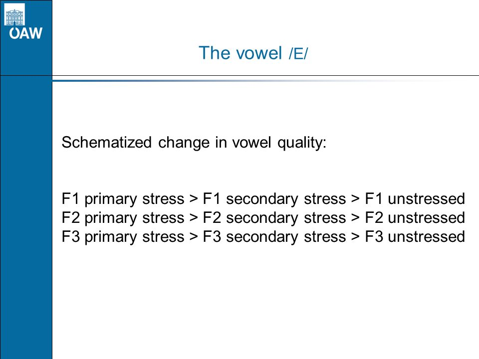 The vowel /E/ Schematized change in vowel quality: