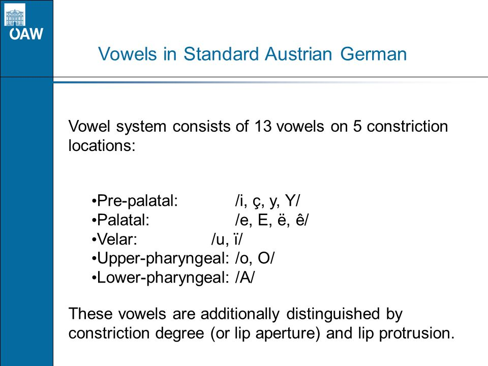 Vowels in Standard Austrian German