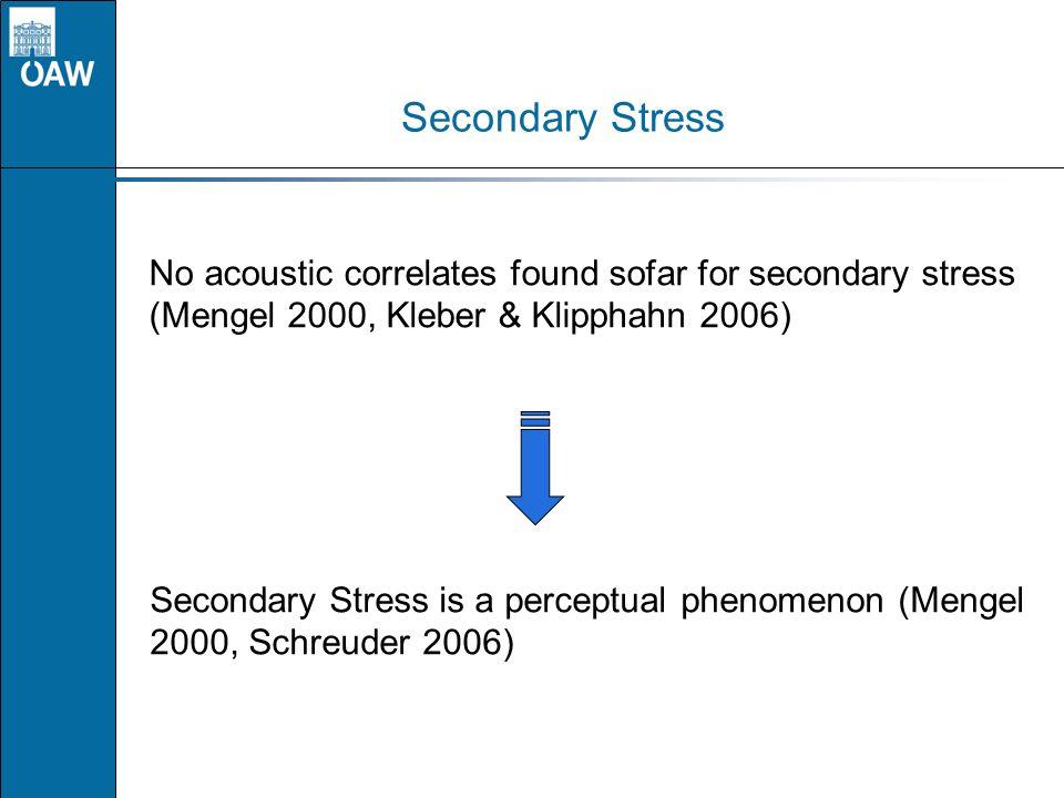 Secondary Stress No acoustic correlates found sofar for secondary stress (Mengel 2000, Kleber & Klipphahn 2006)