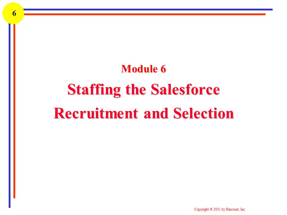 selection of sales force -- organizing the sales force-- recruiting, selecting, training, and compensating salespeople and-- evaluating the performance of individual salespeople.