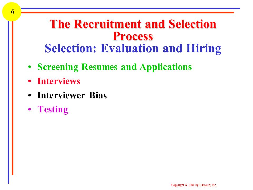 Recruitment and selection process of the