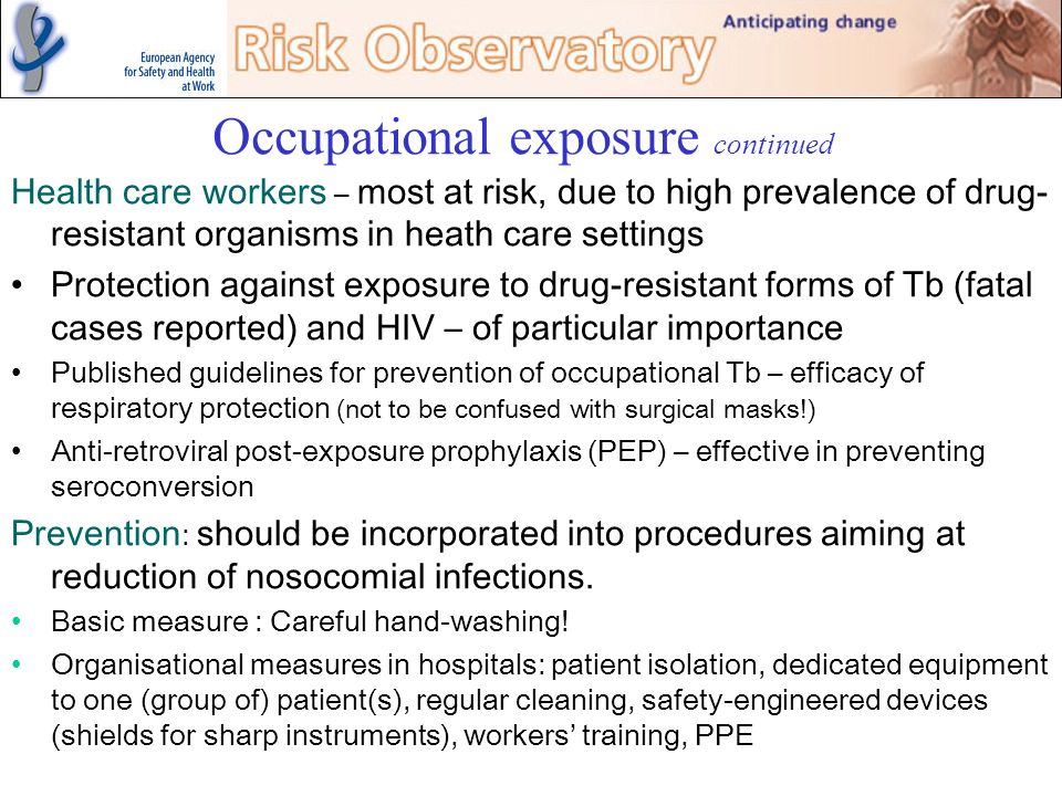 Occupational exposure continued