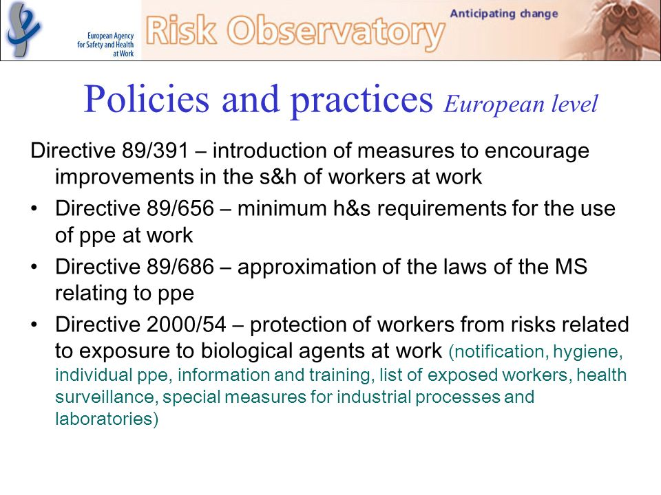 Policies and practices European level