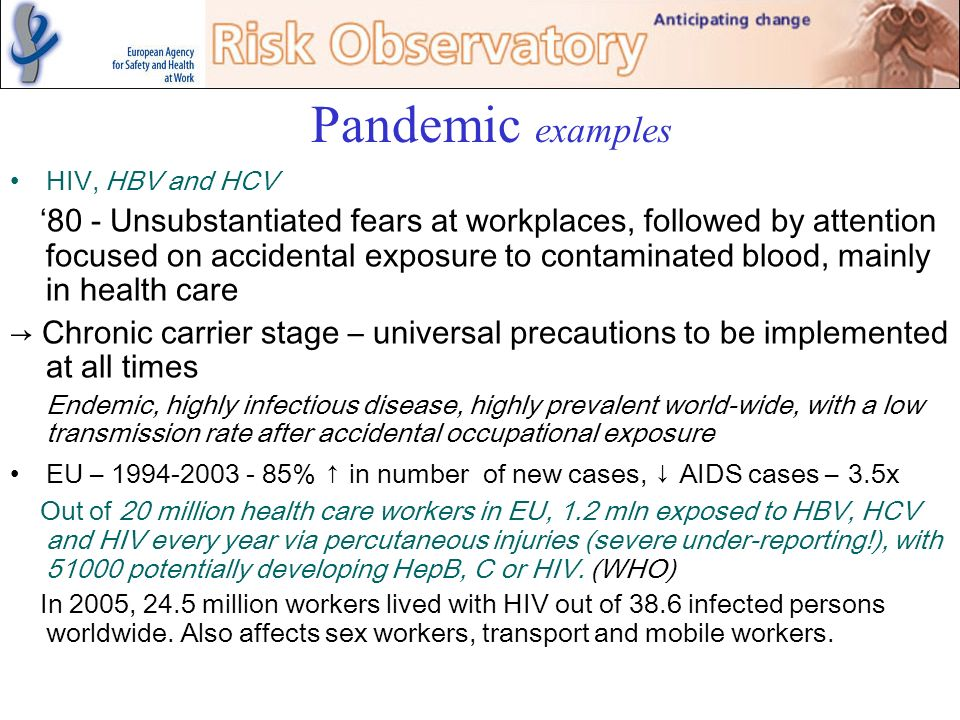 Pandemic examples HIV, HBV and HCV.