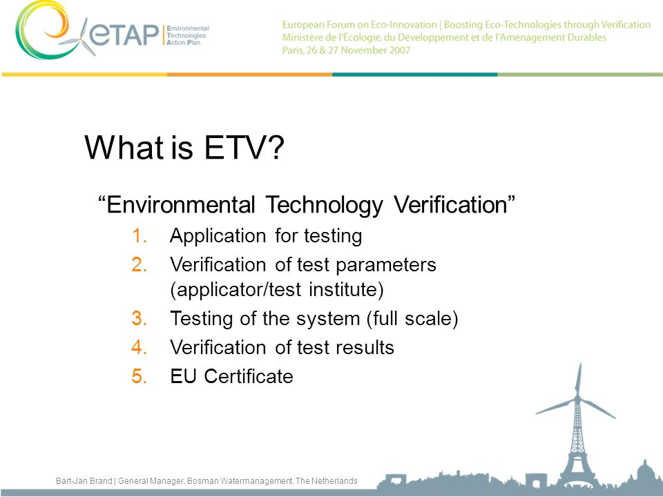 What is ETV Environmental Technology Verification
