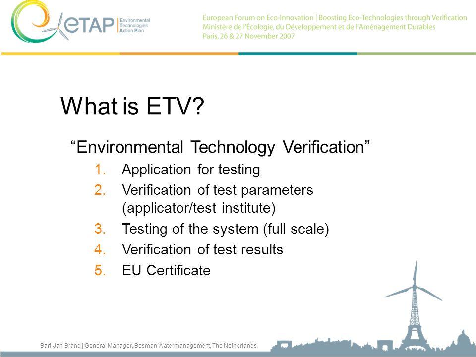What is ETV Environmental Technology Verification
