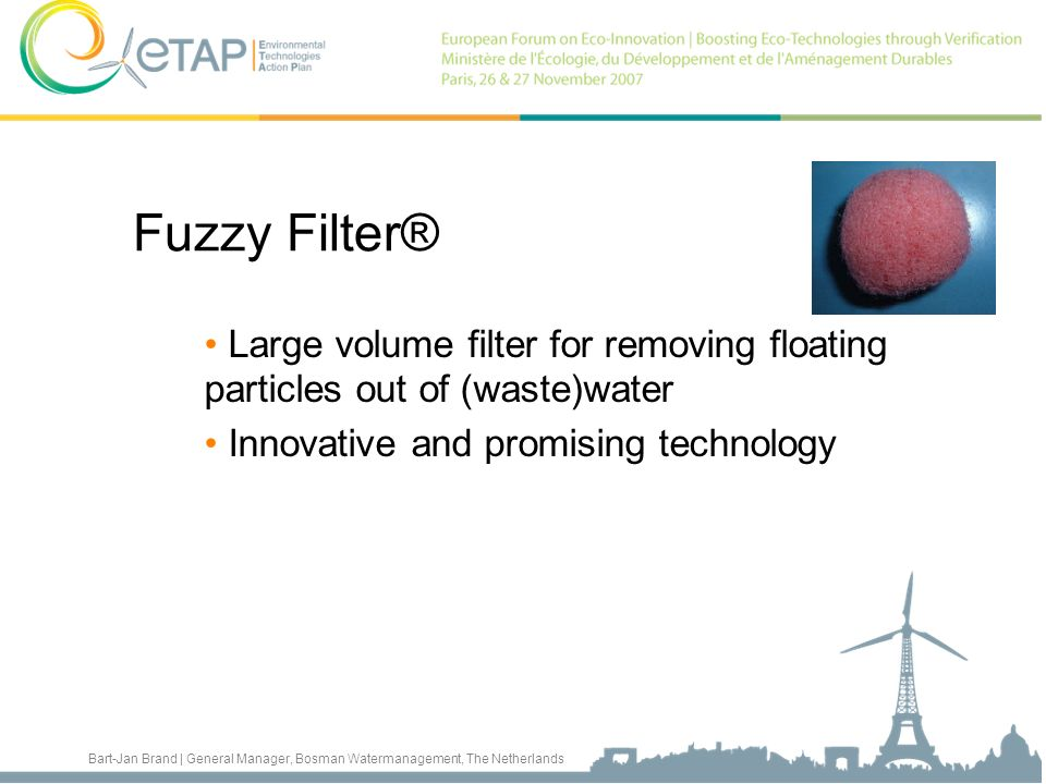 Fuzzy Filter® Large volume filter for removing floating particles out of (waste)water. Innovative and promising technology.