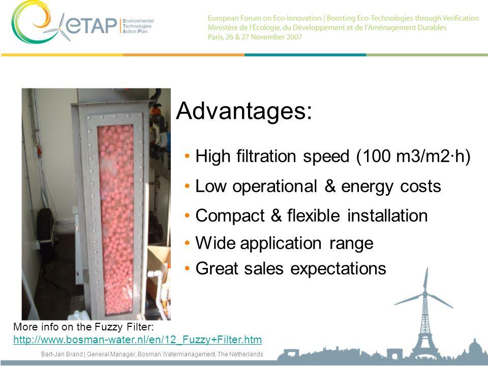 Advantages: High filtration speed (100 m3/m2·h)