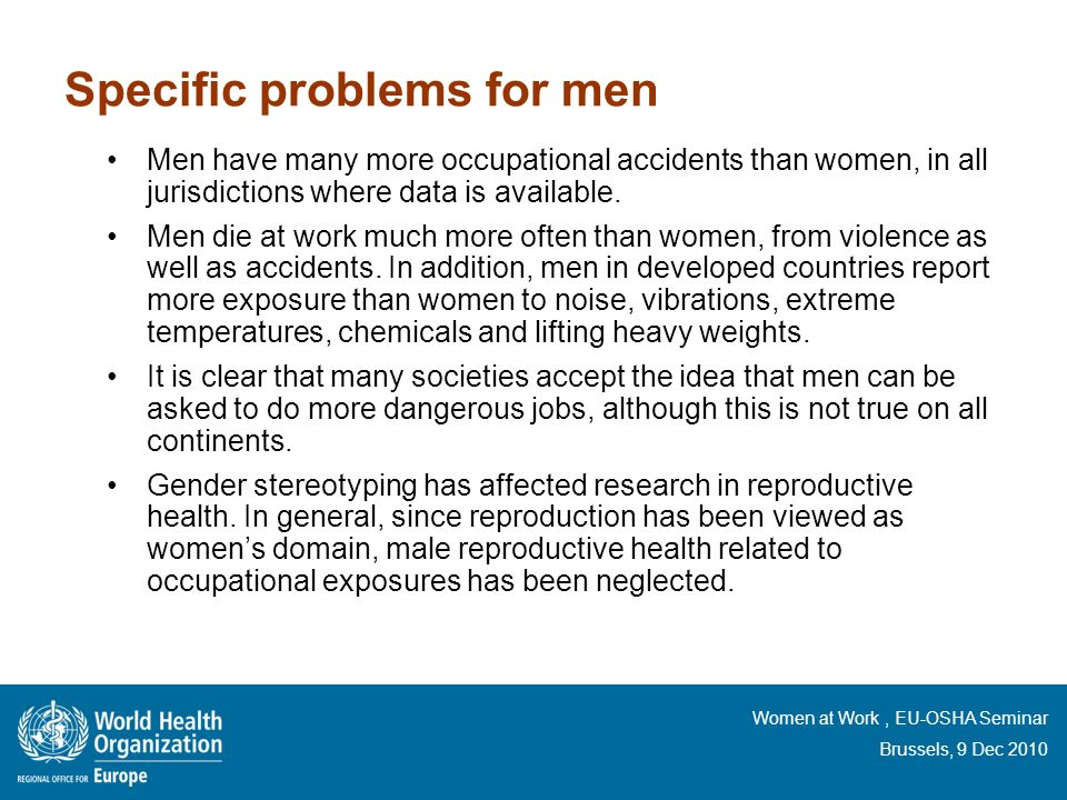 Specific problems for men
