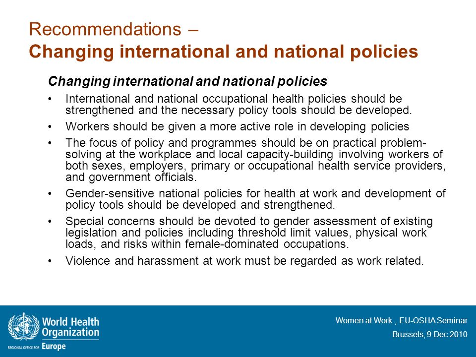 Recommendations – Changing international and national policies