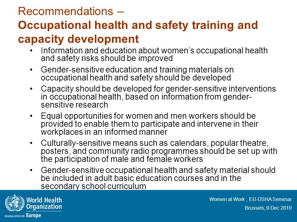 Recommendations – Occupational health and safety training and capacity development
