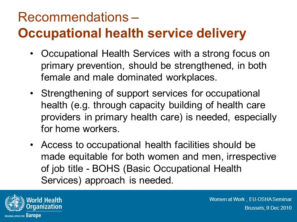 Recommendations – Occupational health service delivery