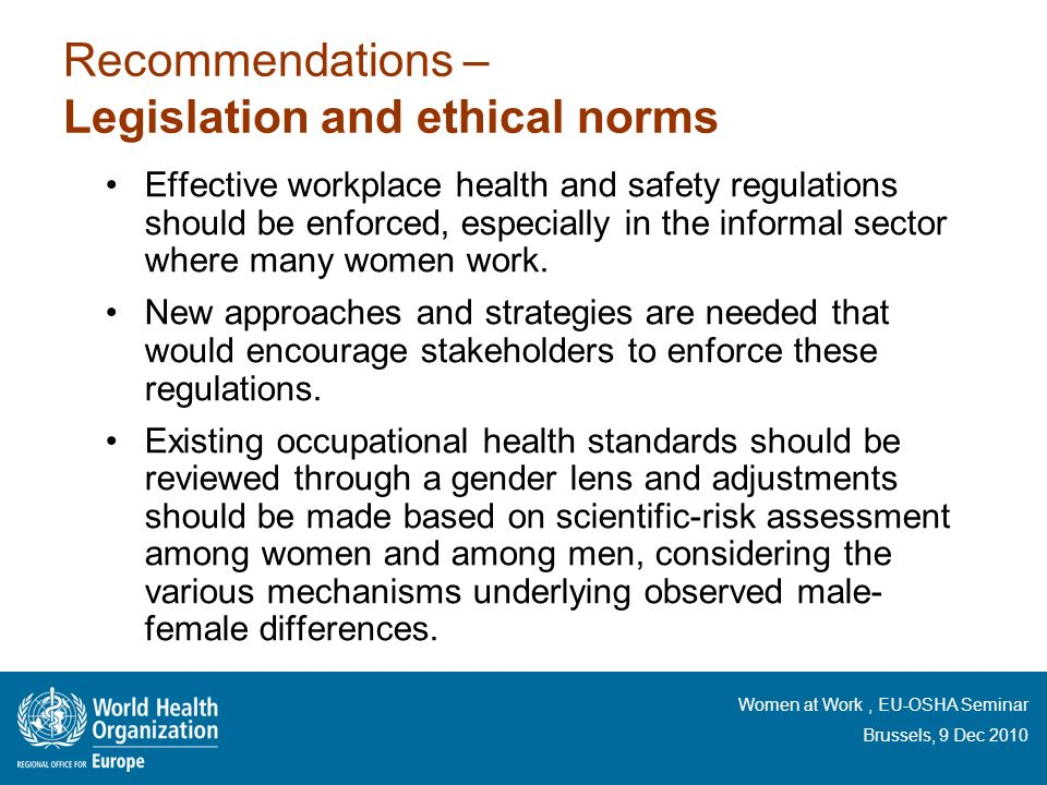 Recommendations – Legislation and ethical norms