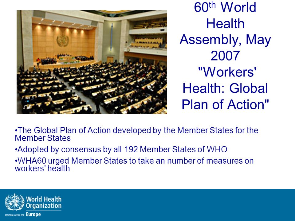 60th World Health Assembly, May 2007 Workers Health: Global Plan of Action