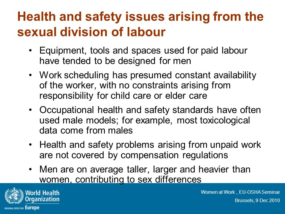 Health and safety issues arising from the sexual division of labour