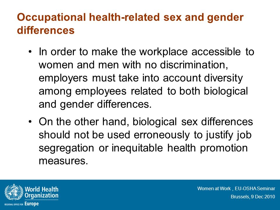 Occupational health-related sex and gender differences