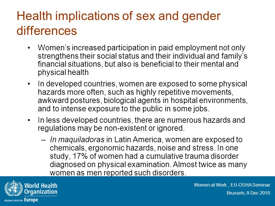 Health implications of sex and gender differences