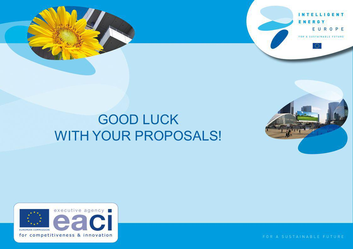 GOOD LUCK WITH YOUR PROPOSALS!