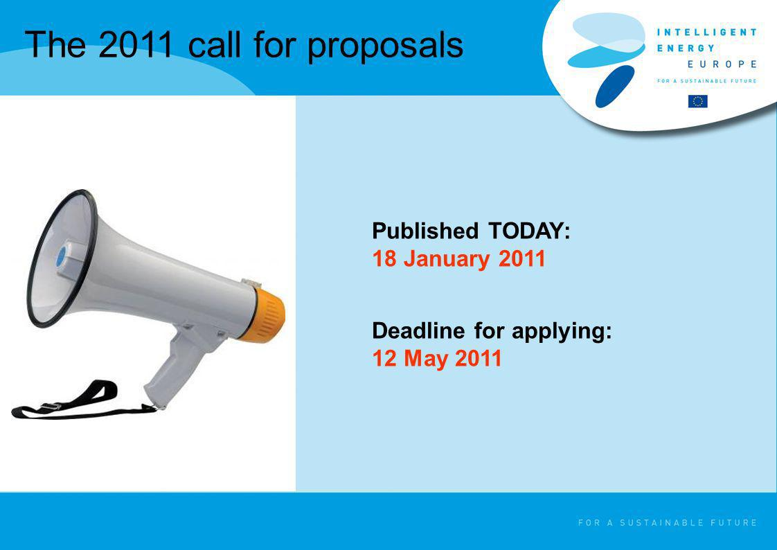 The 2011 call for proposals Published TODAY: 18 January 2011