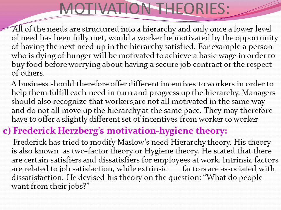 motivation theories help managers How can the theories and models in leadership and motivation help a manager to do his or her job more effectively two powerful tools a manager can use are displaying.
